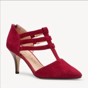 Sole Society Deep Red Mallory Suede Cage Heels 10